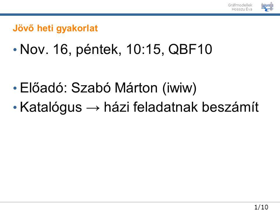 Előadó: Szabó Márton (iwiw) Katalógus → házi feladatnak beszámít