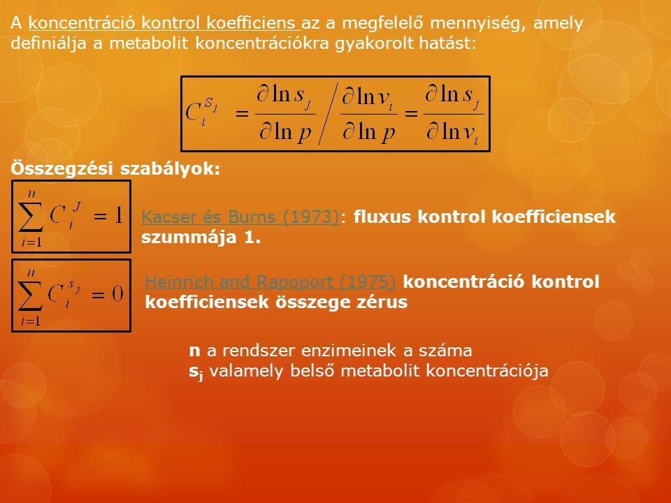 A koncentráció kontrol koefficiens az a megfelelő mennyiség, amely definiálja a metabolit koncentrációkra gyakorolt hatást: