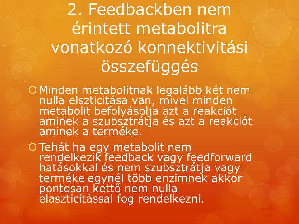 2. Feedbackben nem érintett metabolitra vonatkozó konnektivitási összefüggés