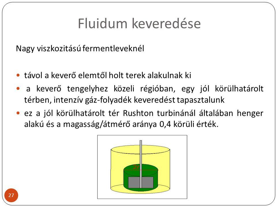 Fluidum keveredése Nagy viszkozitású fermentleveknél