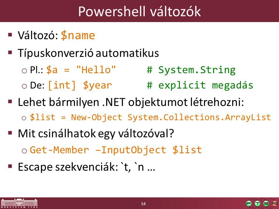 Powershell változók Változó: $name Típuskonverzió automatikus