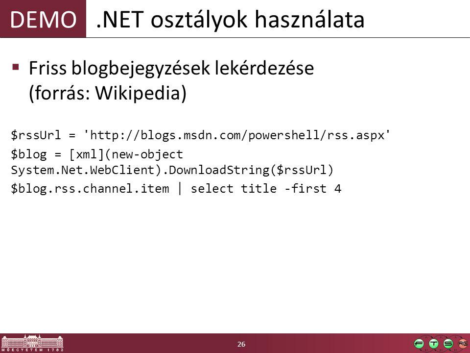 .NET osztályok használata