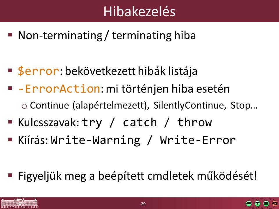 Hibakezelés Non-terminating / terminating hiba