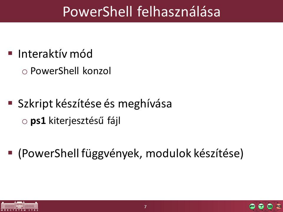 PowerShell felhasználása