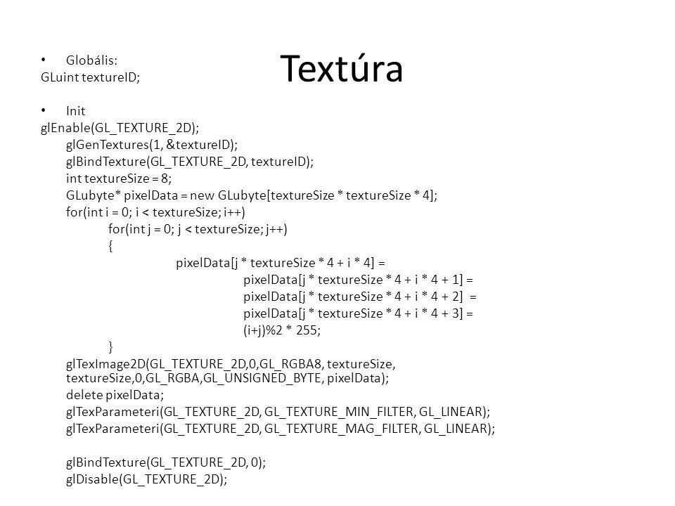 Textúra Globális: GLuint textureID; Init glEnable(GL_TEXTURE_2D);