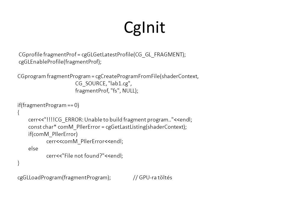 CgInit CGprofile fragmentProf = cgGLGetLatestProfile(CG_GL_FRAGMENT);