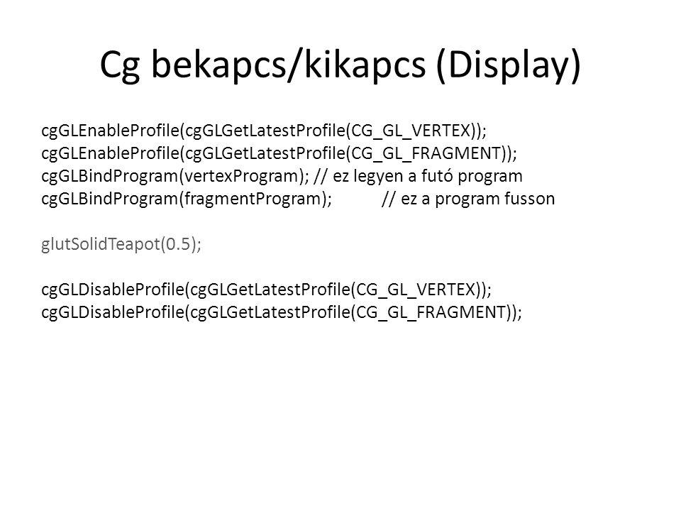 Cg bekapcs/kikapcs (Display)