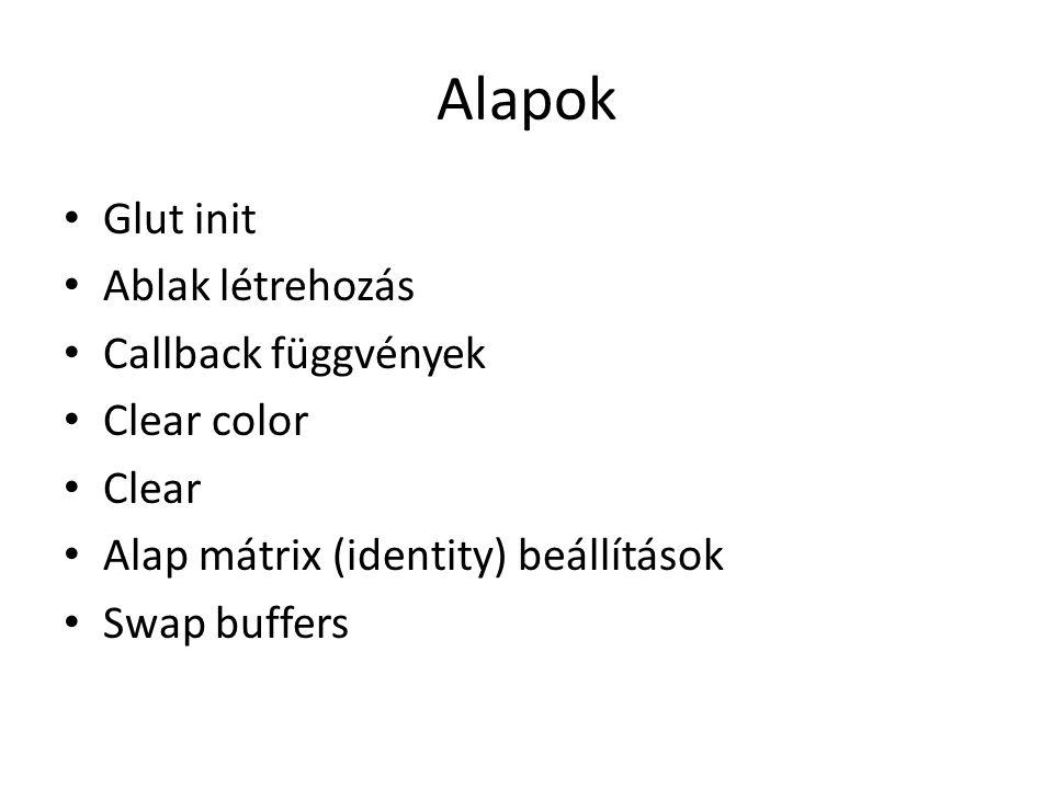 Alapok Glut init Ablak létrehozás Callback függvények Clear color