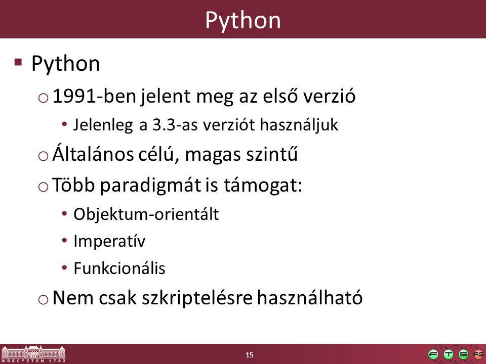 Python Python 1991-ben jelent meg az első verzió