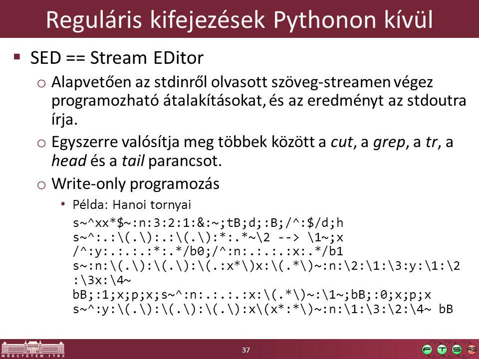 Reguláris kifejezések Pythonon kívül