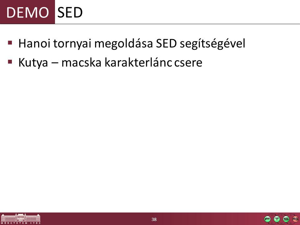 SED Hanoi tornyai megoldása SED segítségével