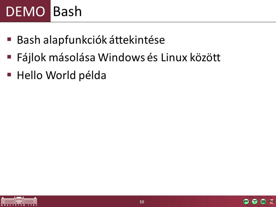 Bash Bash alapfunkciók áttekintése