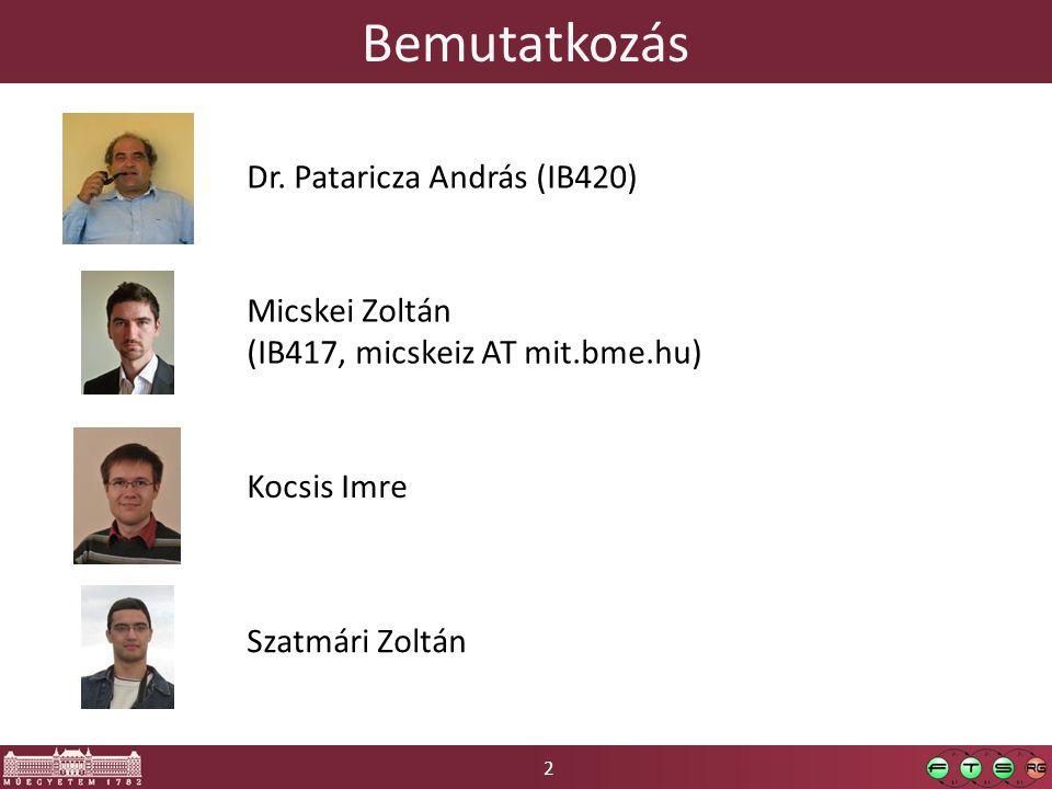 Bemutatkozás Dr. Pataricza András (IB420) Micskei Zoltán