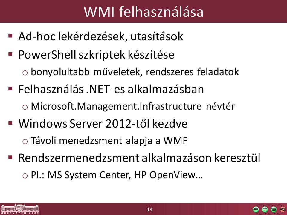 WMI felhasználása Ad-hoc lekérdezések, utasítások