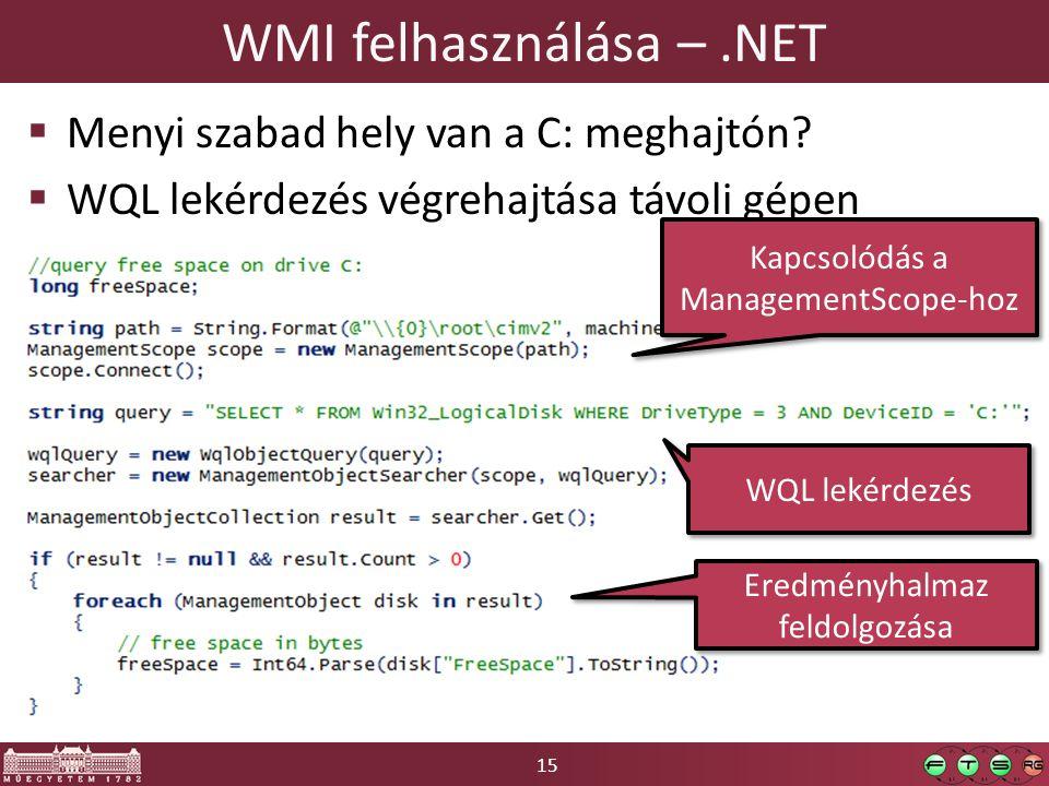 WMI felhasználása – .NET