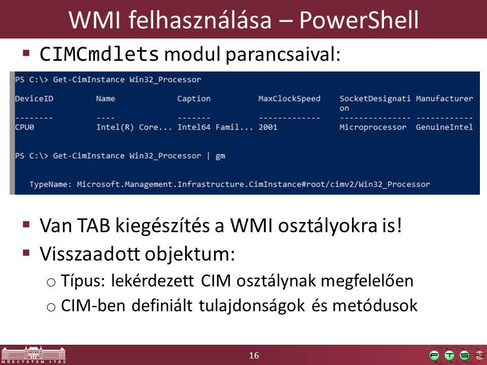 WMI felhasználása – PowerShell