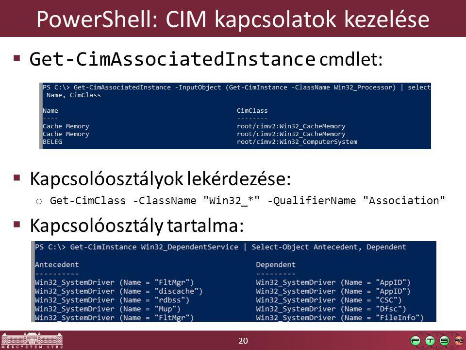 PowerShell: CIM kapcsolatok kezelése