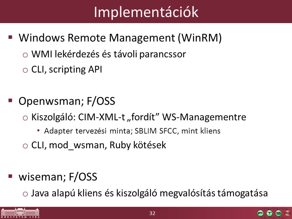 Implementációk Windows Remote Management (WinRM) Openwsman; F/OSS