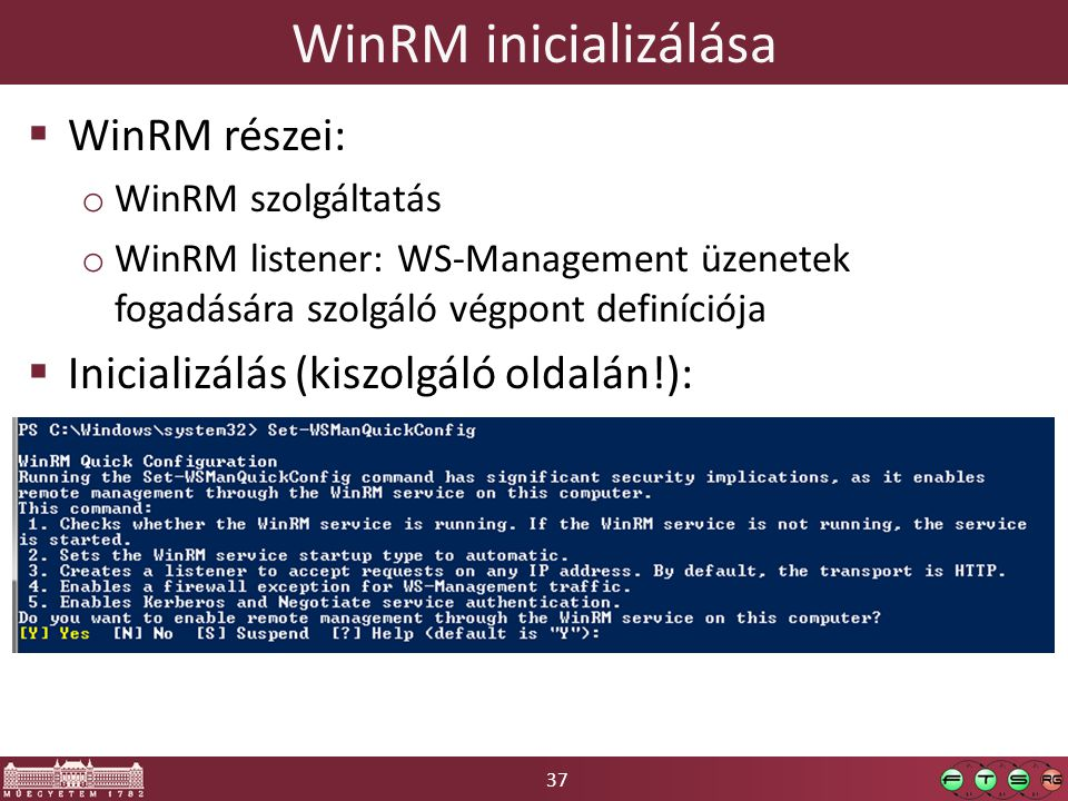 WinRM inicializálása WinRM részei:
