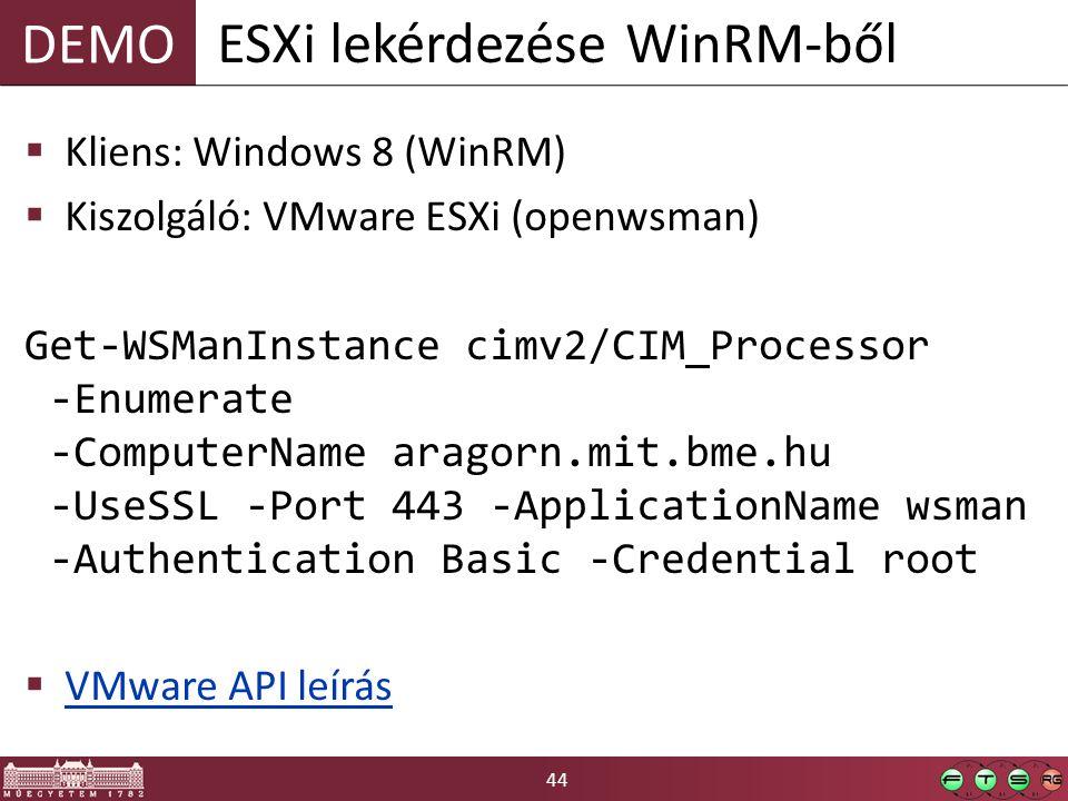 ESXi lekérdezése WinRM-ből