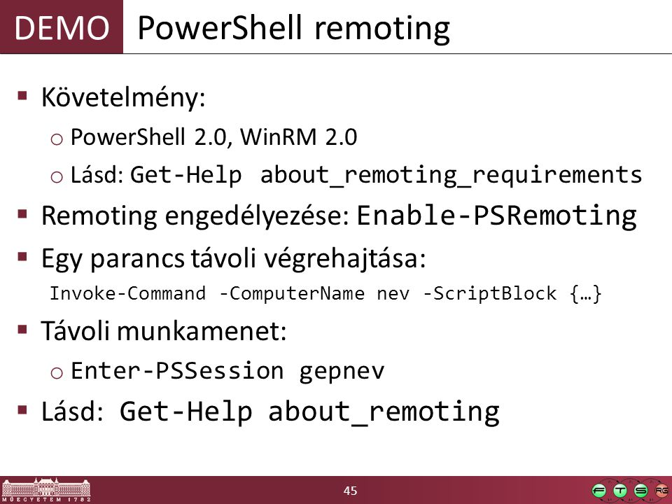 PowerShell remoting Követelmény: