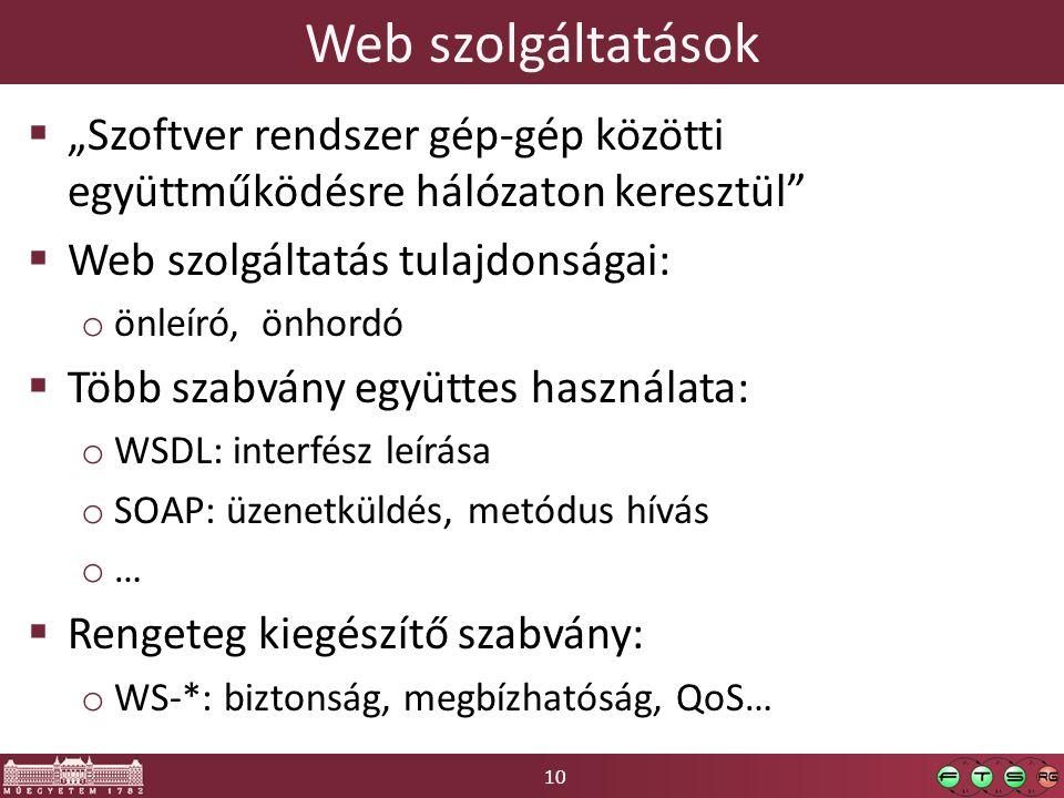 """Web szolgáltatások """"Szoftver rendszer gép-gép közötti együttműködésre hálózaton keresztül Web szolgáltatás tulajdonságai:"""