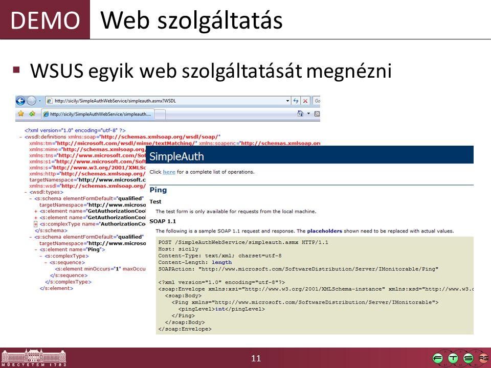 Web szolgáltatás WSUS egyik web szolgáltatását megnézni