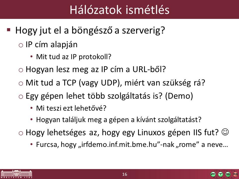 Hálózatok ismétlés Hogy jut el a böngésző a szerverig IP cím alapján