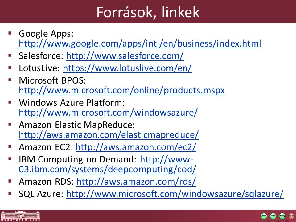 Források, linkek Google Apps: http://www.google.com/apps/intl/en/business/index.html. Salesforce: http://www.salesforce.com/