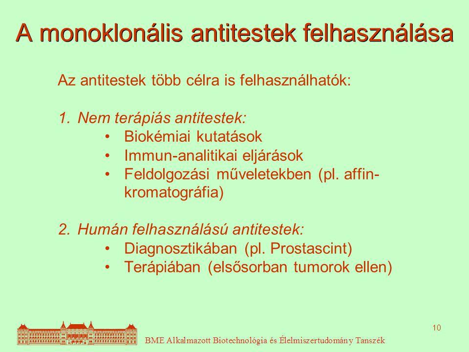 A monoklonális antitestek felhasználása
