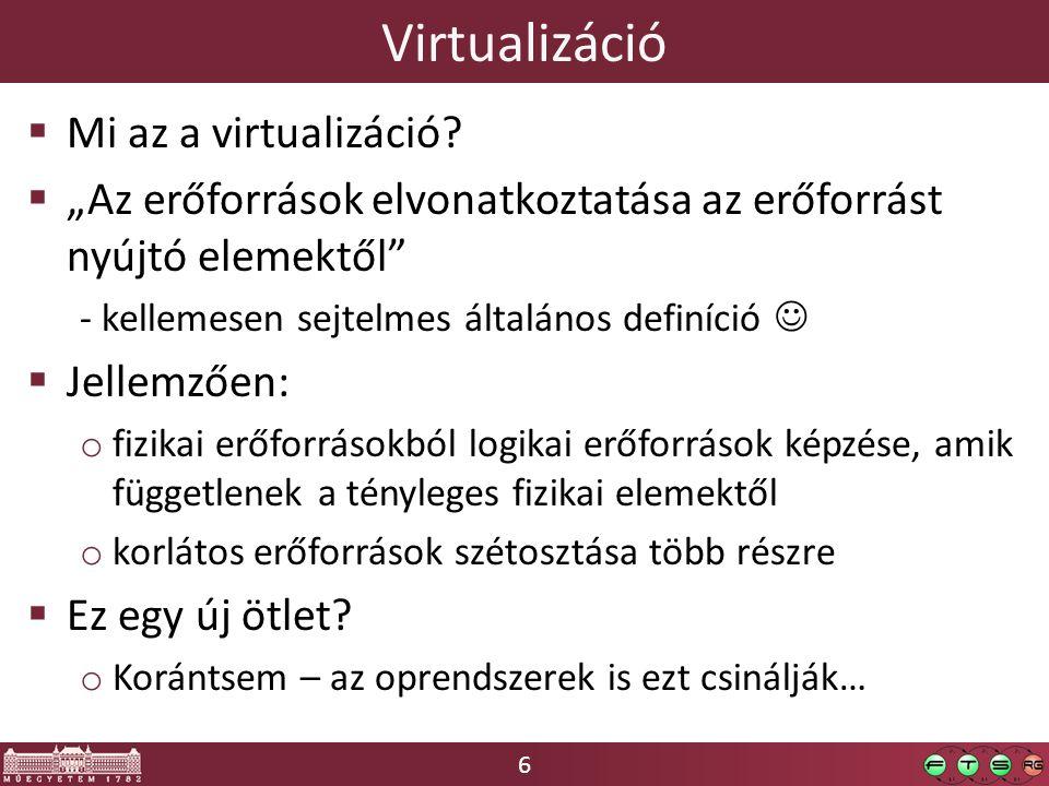 Virtualizáció Mi az a virtualizáció
