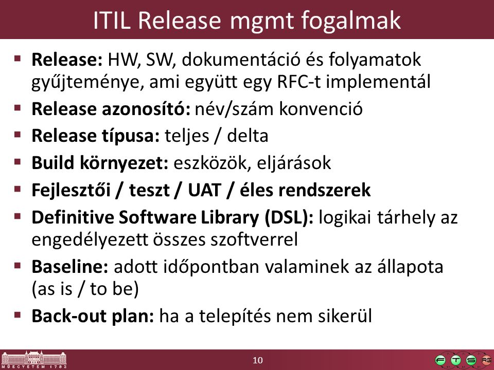 ITIL Release mgmt fogalmak