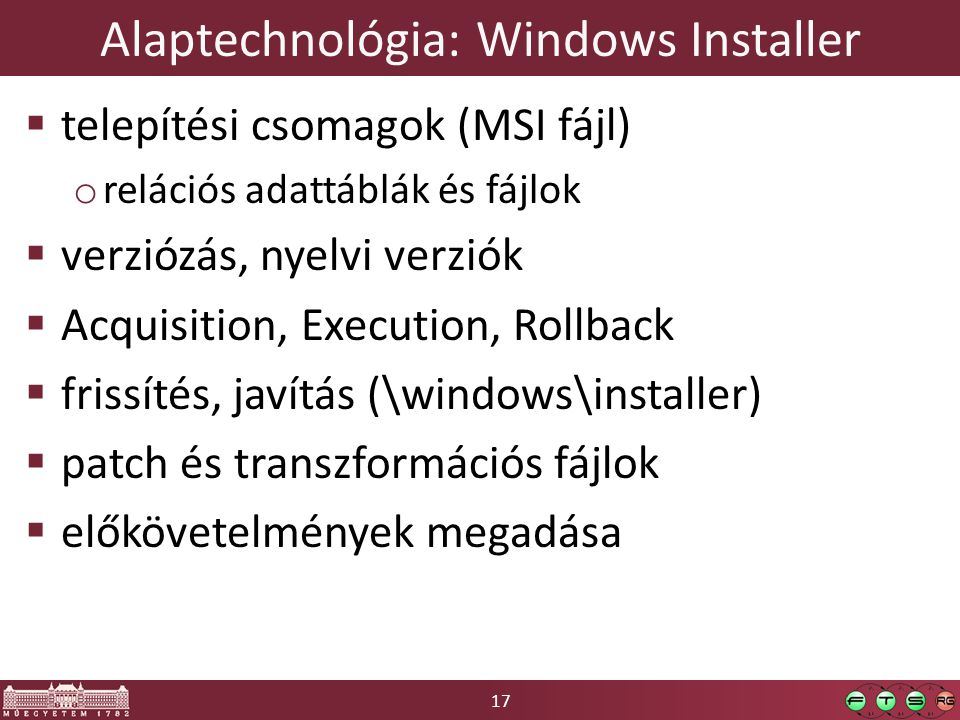 Alaptechnológia: Windows Installer