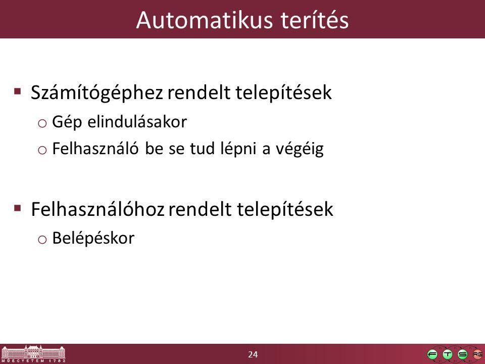 Automatikus terítés Számítógéphez rendelt telepítések
