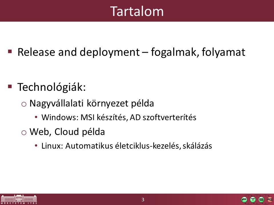Tartalom Release and deployment – fogalmak, folyamat Technológiák: