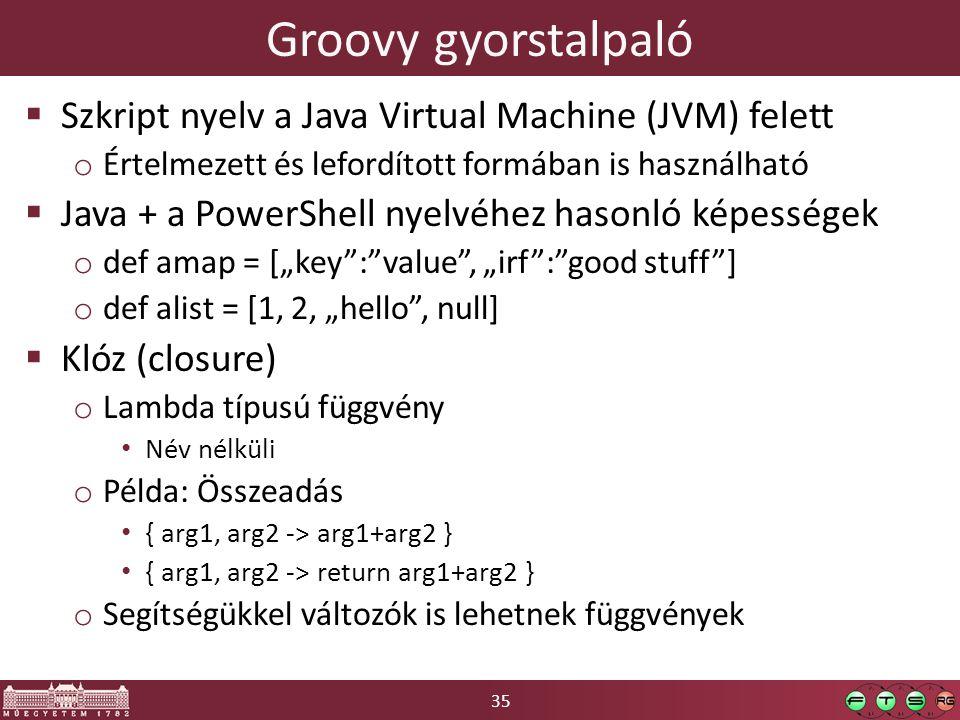 Groovy gyorstalpaló Szkript nyelv a Java Virtual Machine (JVM) felett