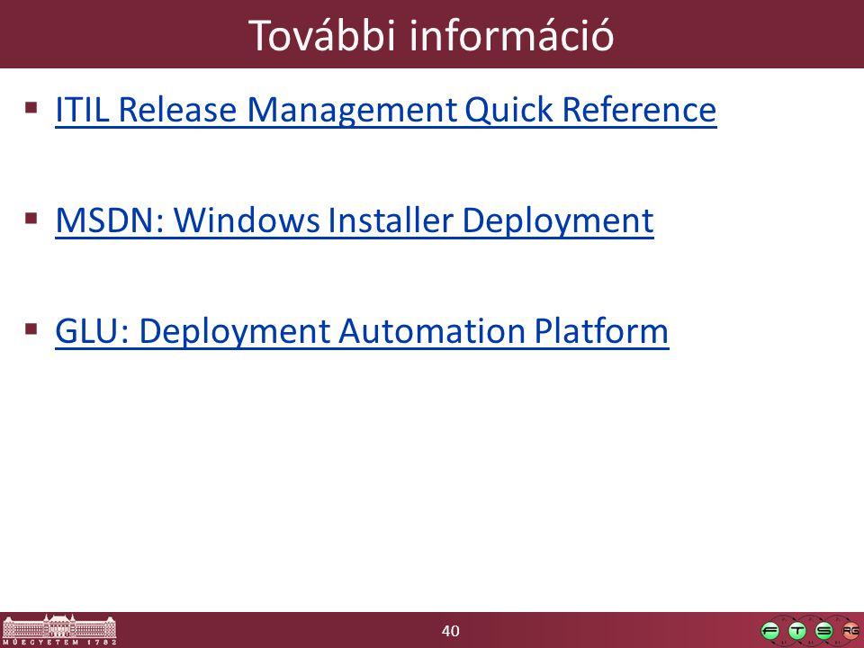 További információ ITIL Release Management Quick Reference
