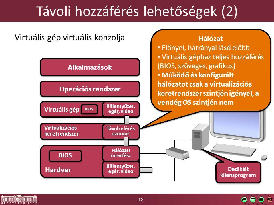 Távoli hozzáférés lehetőségek (2)