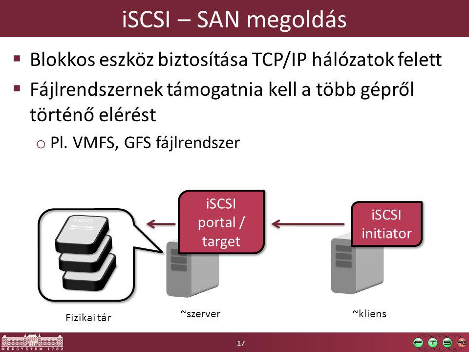 iSCSI – SAN megoldás Blokkos eszköz biztosítása TCP/IP hálózatok felett. Fájlrendszernek támogatnia kell a több gépről történő elérést.