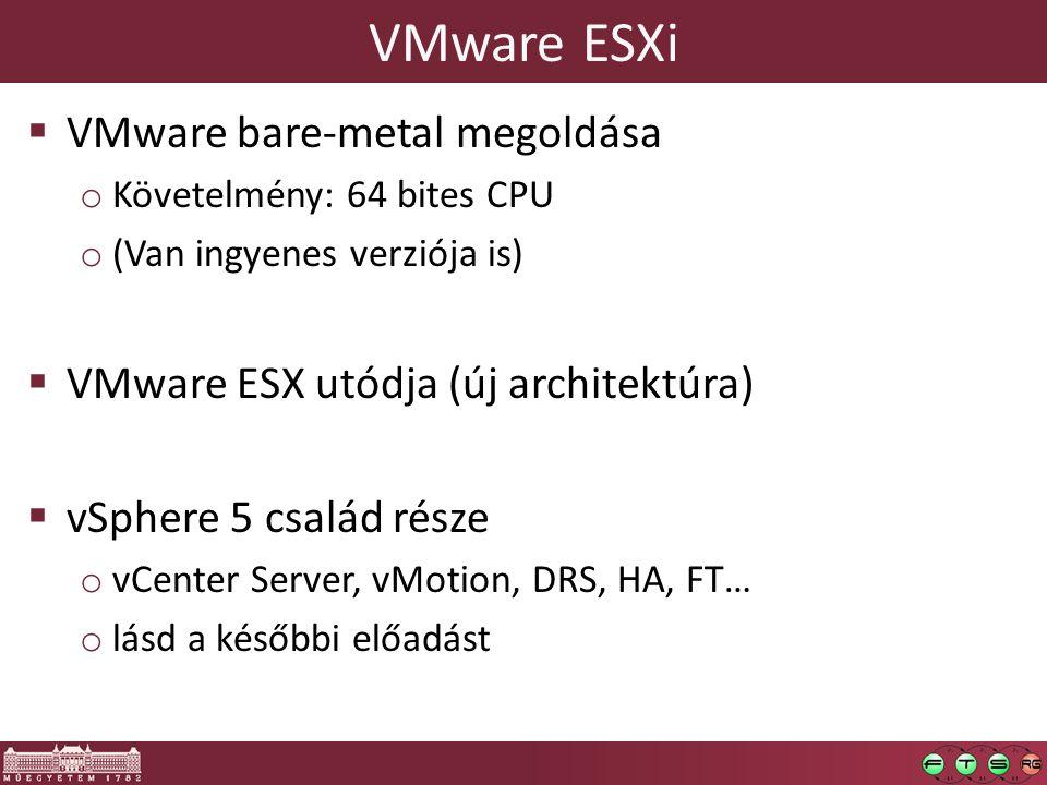 VMware ESXi VMware bare-metal megoldása