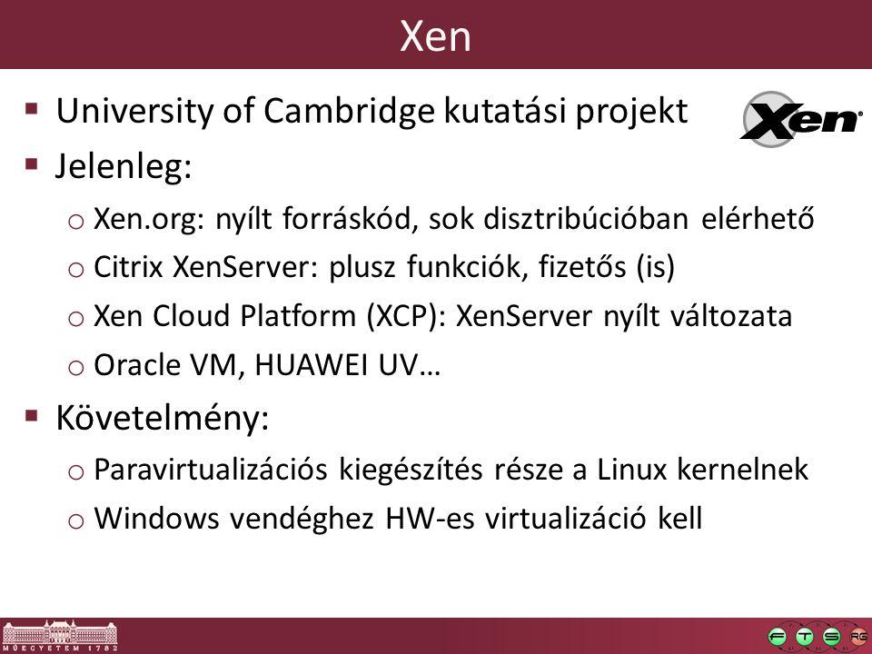 Xen University of Cambridge kutatási projekt Jelenleg: Követelmény: