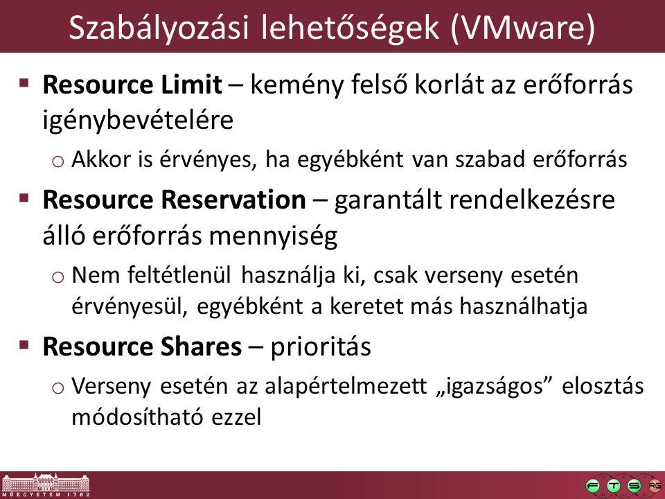 Szabályozási lehetőségek (VMware)