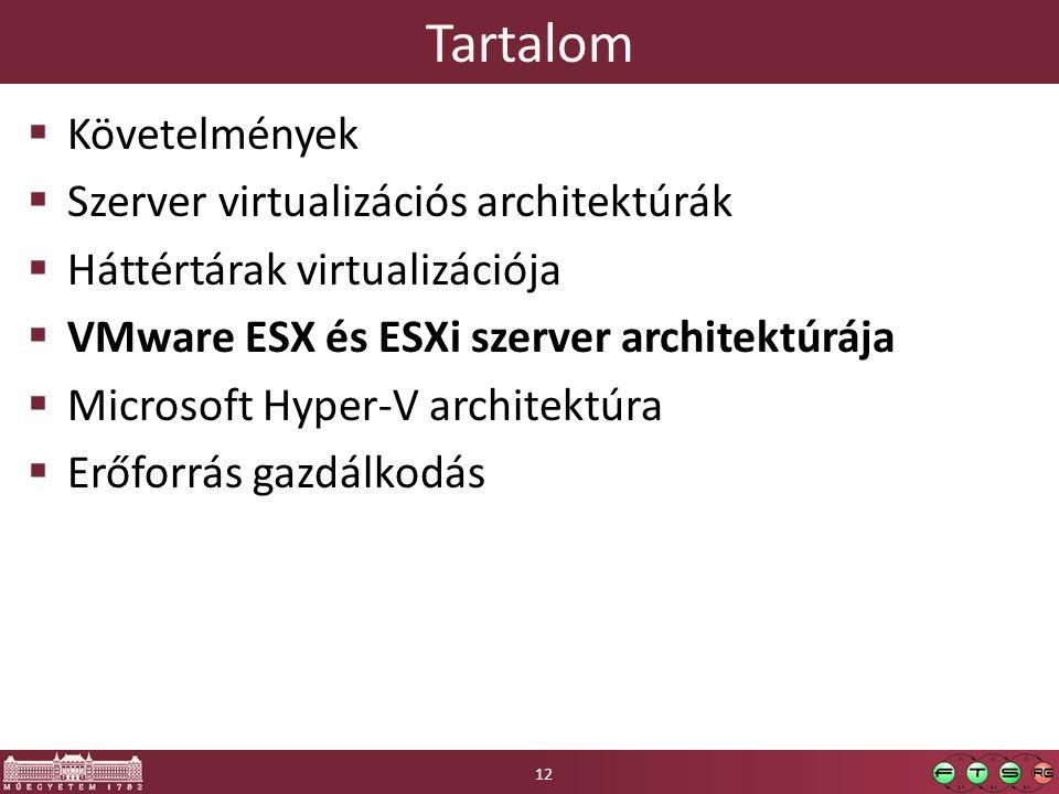 Tartalom Követelmények Szerver virtualizációs architektúrák