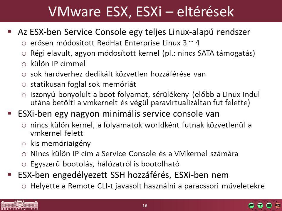 VMware ESX, ESXi – eltérések