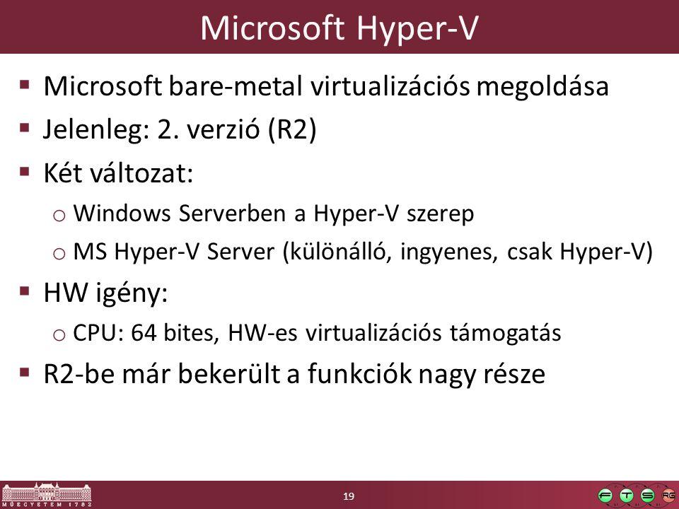 Microsoft Hyper-V Microsoft bare-metal virtualizációs megoldása