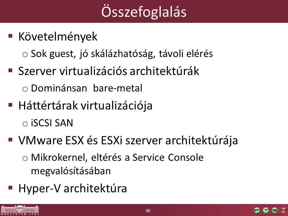 Összefoglalás Követelmények Szerver virtualizációs architektúrák
