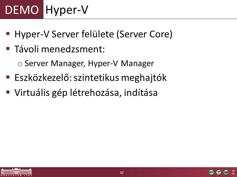 Hyper-V Hyper-V Server felülete (Server Core) Távoli menedzsment: