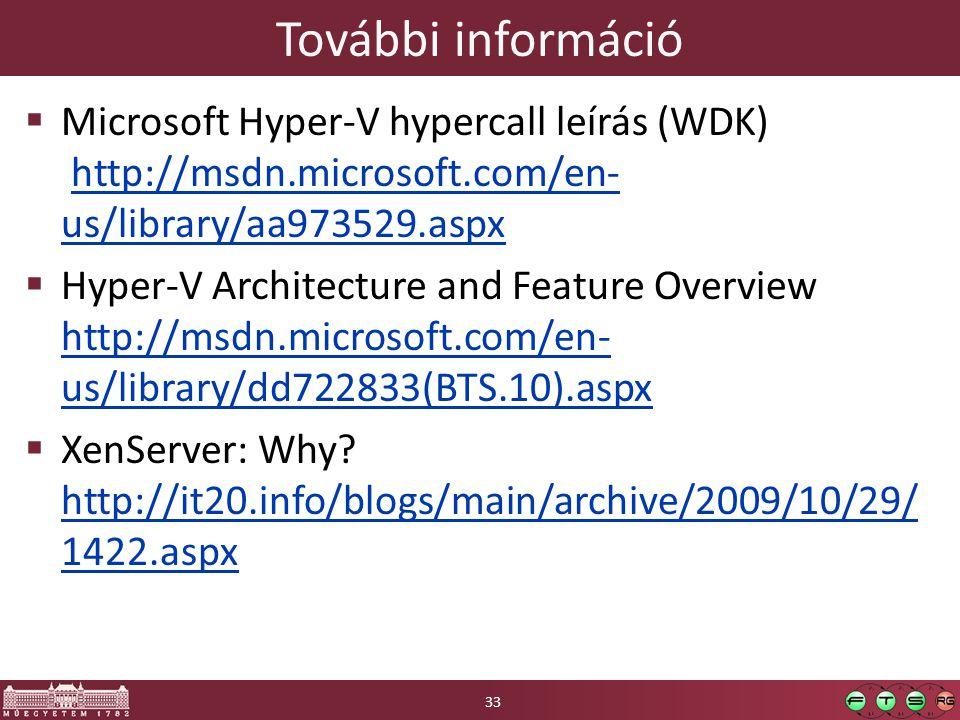 További információ Microsoft Hyper-V hypercall leírás (WDK) http://msdn.microsoft.com/en-us/library/aa973529.aspx.