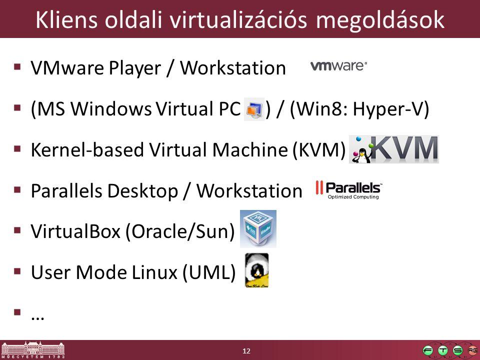 Kliens oldali virtualizációs megoldások