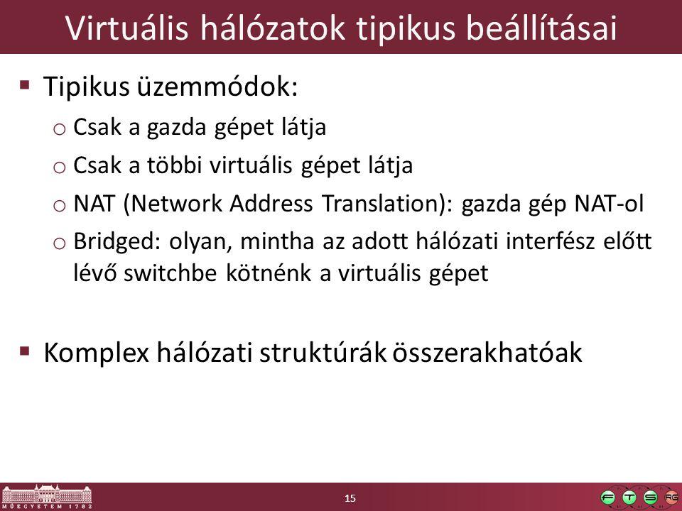 Virtuális hálózatok tipikus beállításai